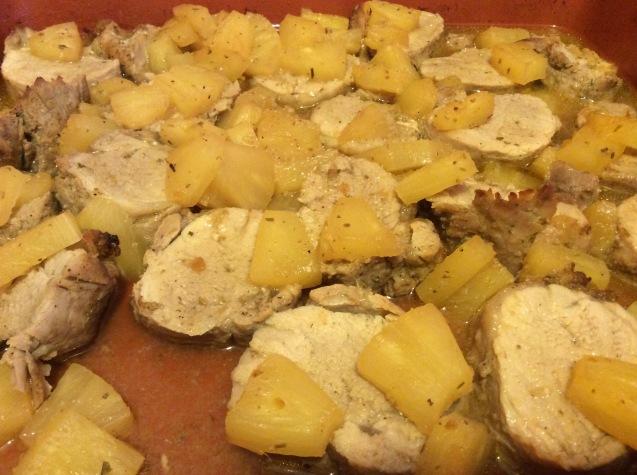 porco glaceado de ananás